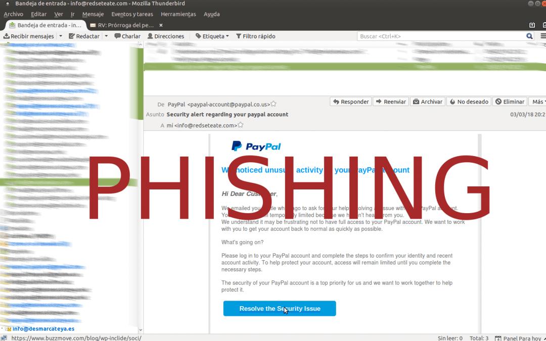 Phishing un problema actual a tenir molt en compte.